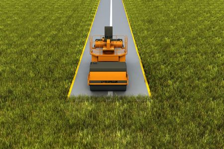 dirt road: Road consrtuction. Paver machine on road in the grass. Concept render Stock Photo