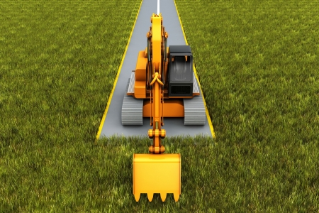 Road construction. Excavator on the road in the grass. Concept render photo