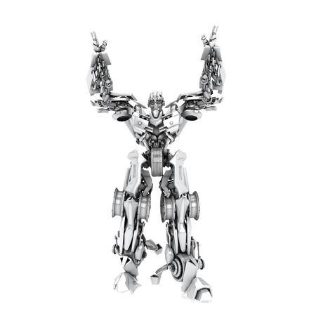 cybernetics: Robot transformer isolated on white. 3d render Stock Photo