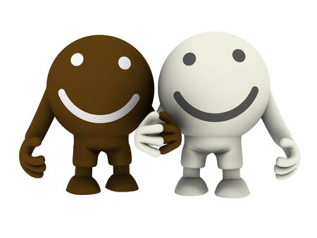 Two smileys holding hands. Isolated on white. Concept render