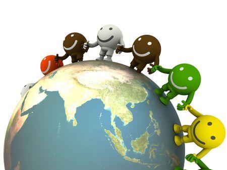 Gruppo di smiley ubicati in tutto il mondo. Rendering di concetto