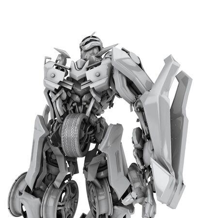 Robot isolato su sfondo bianco. rendering 3D