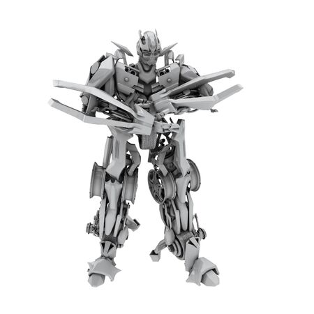 cybernetics: Robot isolated on white background. 3d render