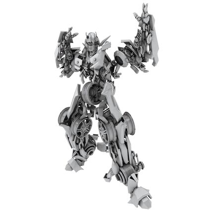 cybernetics: Robot isolated on white backgound. 3d render Stock Photo