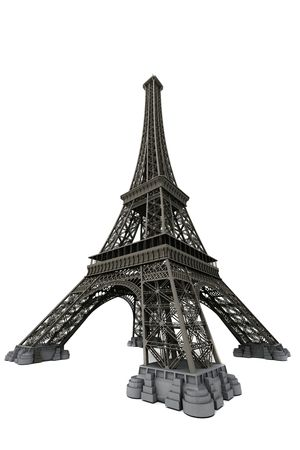 romantic travel: Eiffel tower isolated on white. Computer graphics