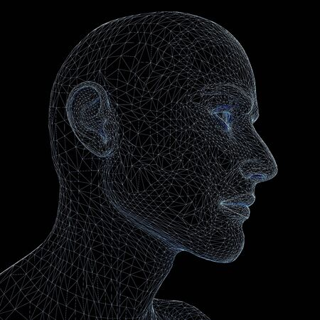 unclothed: Man head. Done in luminous lines on a black background Stock Photo