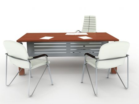 Office table and two armchairs. On ligth grey background