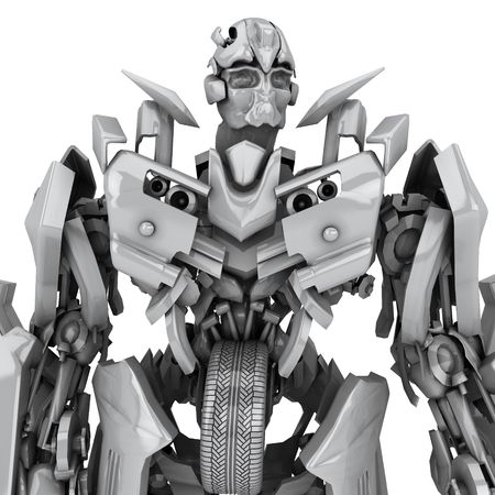 cybernetics: Robot isolated on the white background