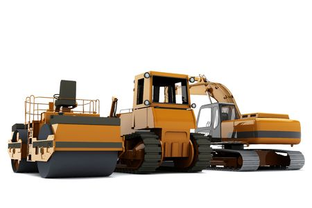 Group road machinery for road construction photo