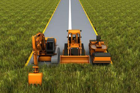 road paving: Construcci�n de caminos. Maquinaria vial en la carretera en la hierba. Procesamiento de concepto