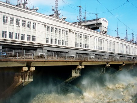 drained: On Hydro power plant is drained excess water
