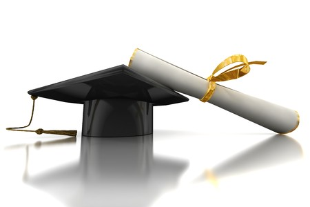 Black bachelors hat and diploma on mirror plane Stock Photo