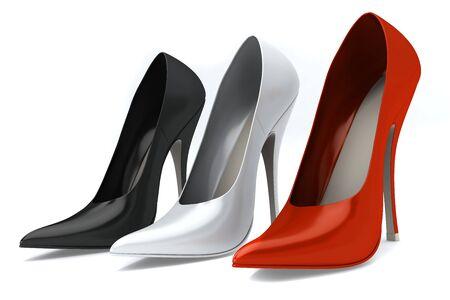 Tres color zapatos de mujer aislados en blanco