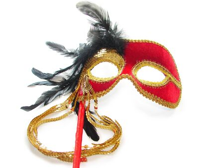 Red Carnival Mask with black feathers. Isolated on white Stock Photo - 6892938