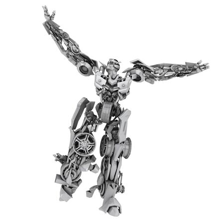Robot isolated on white background. 3d graphics