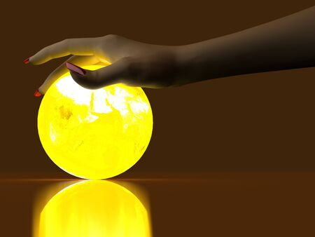 The hand rests on a bright ball, designed with a globe Stock Photo - 6918821