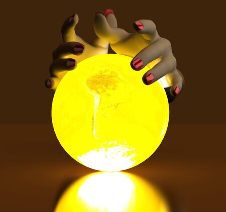 The hand rests on a bright ball, designed with a globe photo