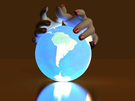 The hand rests on a bright ball, designed with a globe Stock Photo - 6918800