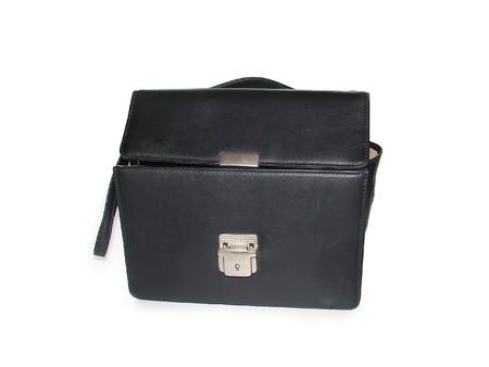 pochette: Open personal handbag isolated on white background