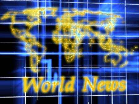 actuality: Notizie del mondo. il rendering di grafica 3D. Immagine astratta su sfondo blu
