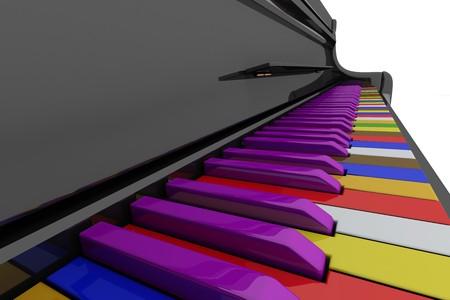 Color grand piano keys. Close up view photo
