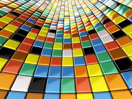 A wall of mosaic in the shape of squares Stock Photo