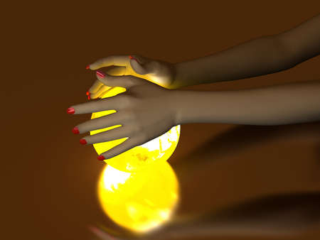 The hand rests on a bright ball, designed with a globe Stock Photo - 7005984