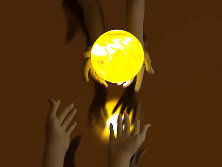 transmit: Two hands that transmit yellow Glowing Globe. On dark background