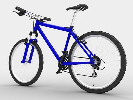 mountainbike: Blue sport bicycle. Isolated on light background
