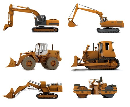 excavator: Group Road machinery isolated on white background
