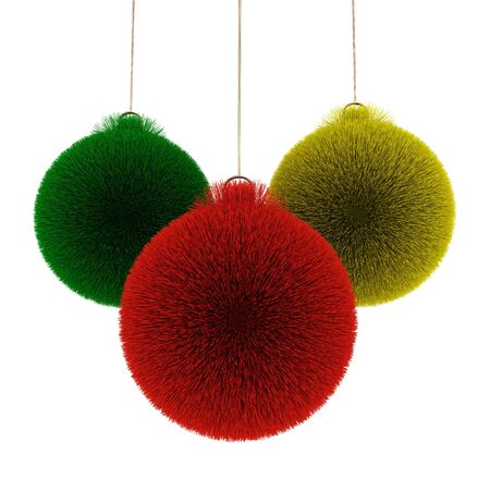Colored christmas balls from fur isolated on white photo
