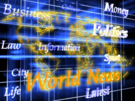 World map. 3d graphics render. Abstract picture on blue background photo