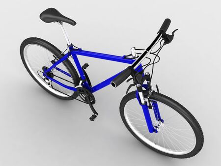 Blue sport bicycle. Top view. on light background photo