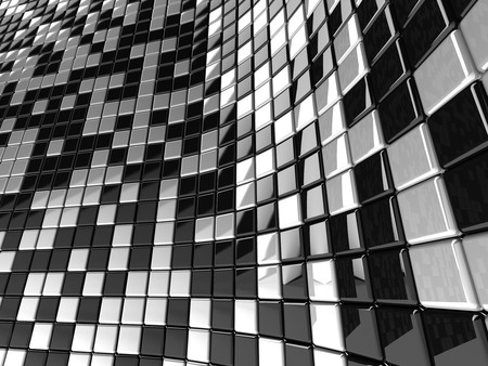 A wall of black and white mosaic in the shape of squares Stock Photo - 7372455