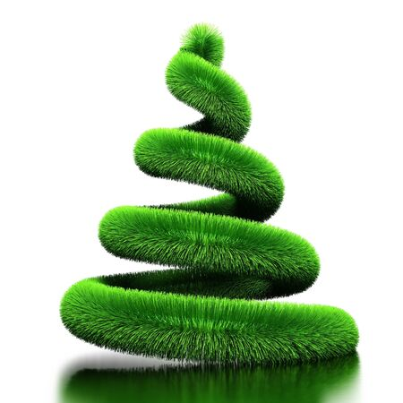 decorating christmas tree: Spiral from fur. Stylized by Christmas tree. Isolated