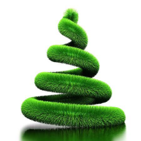 Spirale da pelliccia. Stilizzata da un albero di Natale. Isolato  Archivio Fotografico