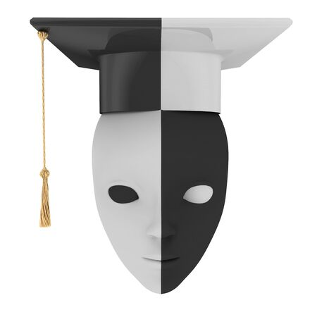 Black and white bachelors hat and theatrical mask