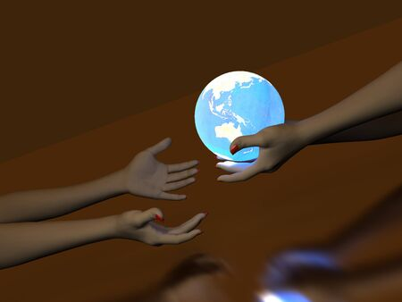 Two hands that transmit blue Glowing Globe. On dark background Stock Photo - 7434090