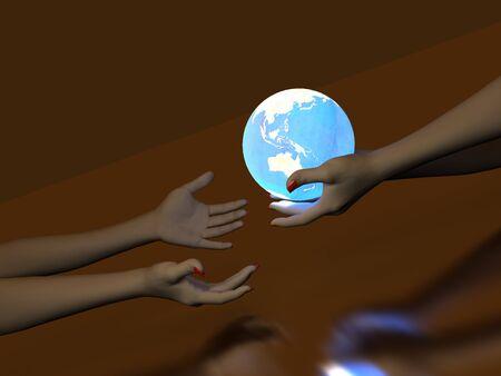 transmit: Two hands that transmit blue Glowing Globe. On dark background