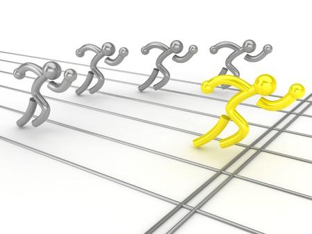 Concorrenza di atletica leggera. Su una superficie bianca. Computer grafica  Archivio Fotografico
