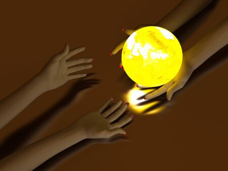 Two hands that transmit yellow Glowing Globe. On dark background Stock Photo - 7561831