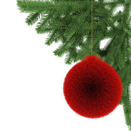 Colored ball from fur with christmas tree branch