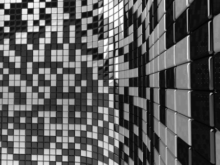 A wall of black and white mosaic in the shape of squares Stock Photo - 7624759