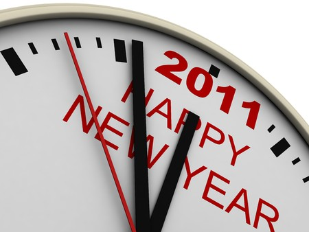 New Years clock on white background. 3d render