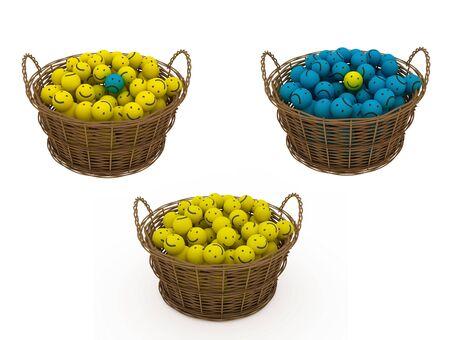 smileys: basket with smileys on light background
