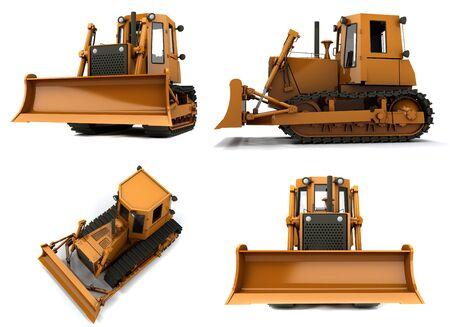 Orange dirty bulldozer isolated on white background Stock Photo