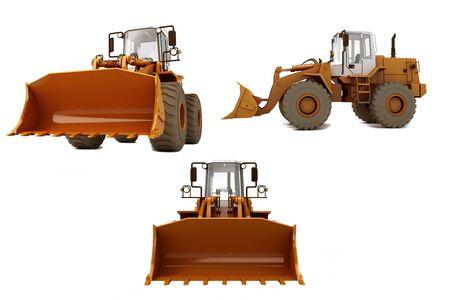 Orange bulldozer on wheels isolated on white