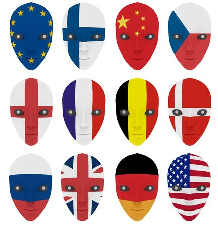 face guard: Mask painted with a flag. Isolated on white
