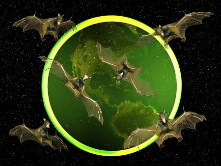 Bat against the backdrop of the earth Stock Photo - 7918550