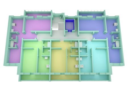 Floor plan house isolated on white. 3d render